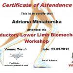 Dyplom uczestnictwa w warsztatach dot. biomechaniki stóp i wytwarzania wkładek
