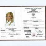 Dyplom uzyskania tytułu magistra na kierunku kosmetologia