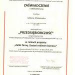 """Dyplom ukończenia kursu pt.: """"Przedsiębiorczość"""""""