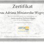 """Certyfikat ukończenia szkolenia podologicznego """"Jurtin Medical"""""""